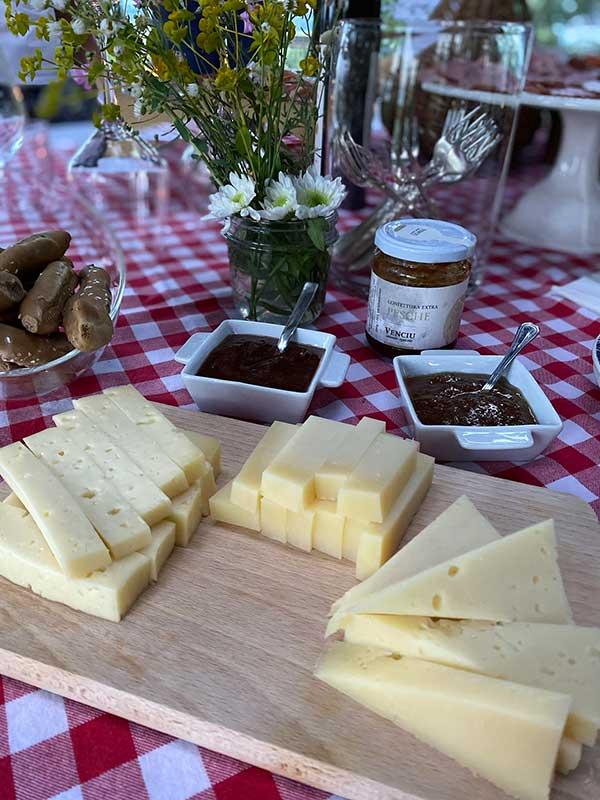 formaggio su tovaglia a scacchi rossi