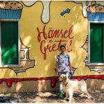 ragazza con cane e murales